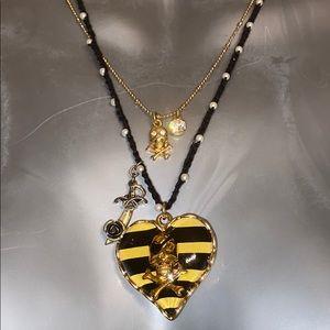 Betsey Johnson skull heart cross necklace